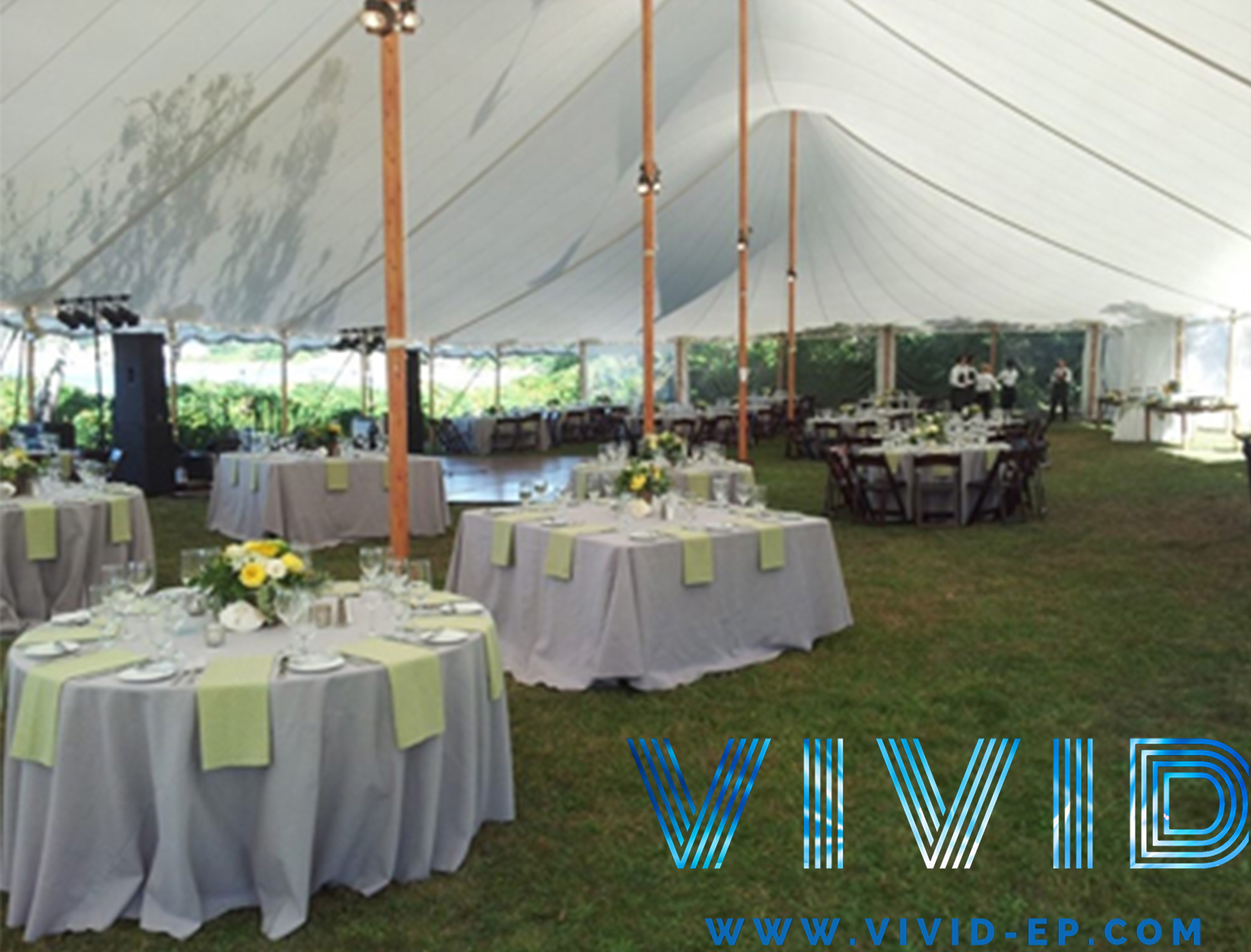 Tent rentals, table settings, floral arrangements, and drapery can all be provided for your one stop shop