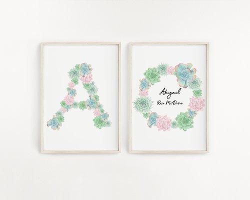Watercolor Custom Name Print Monogram Letters Nursery Name Art New Baby Gift Baby Girls Room Decor Nursery Wall Decor