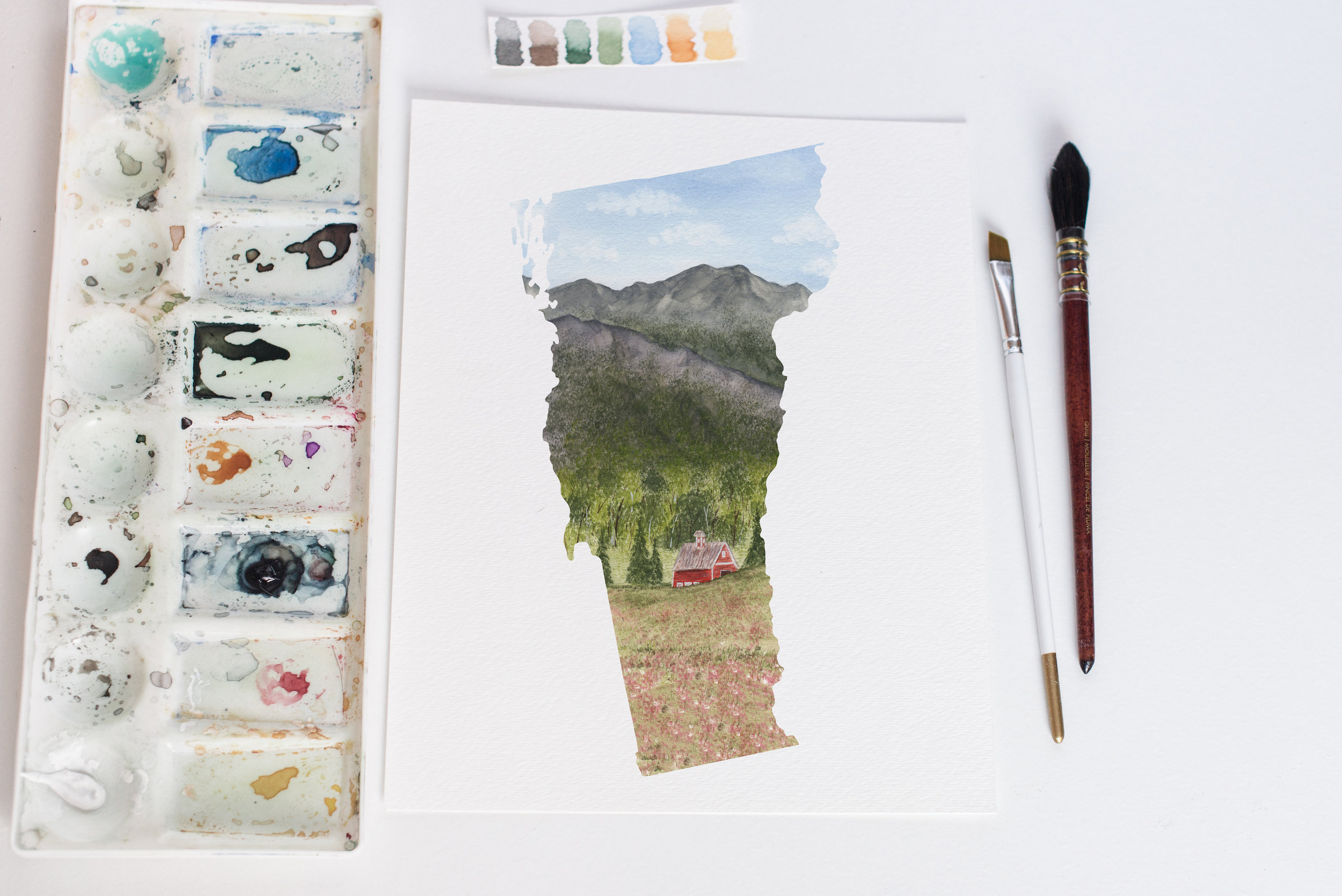 This one was interesting getting the perspective right. The close up florals and the woods fading up the tall mountain.