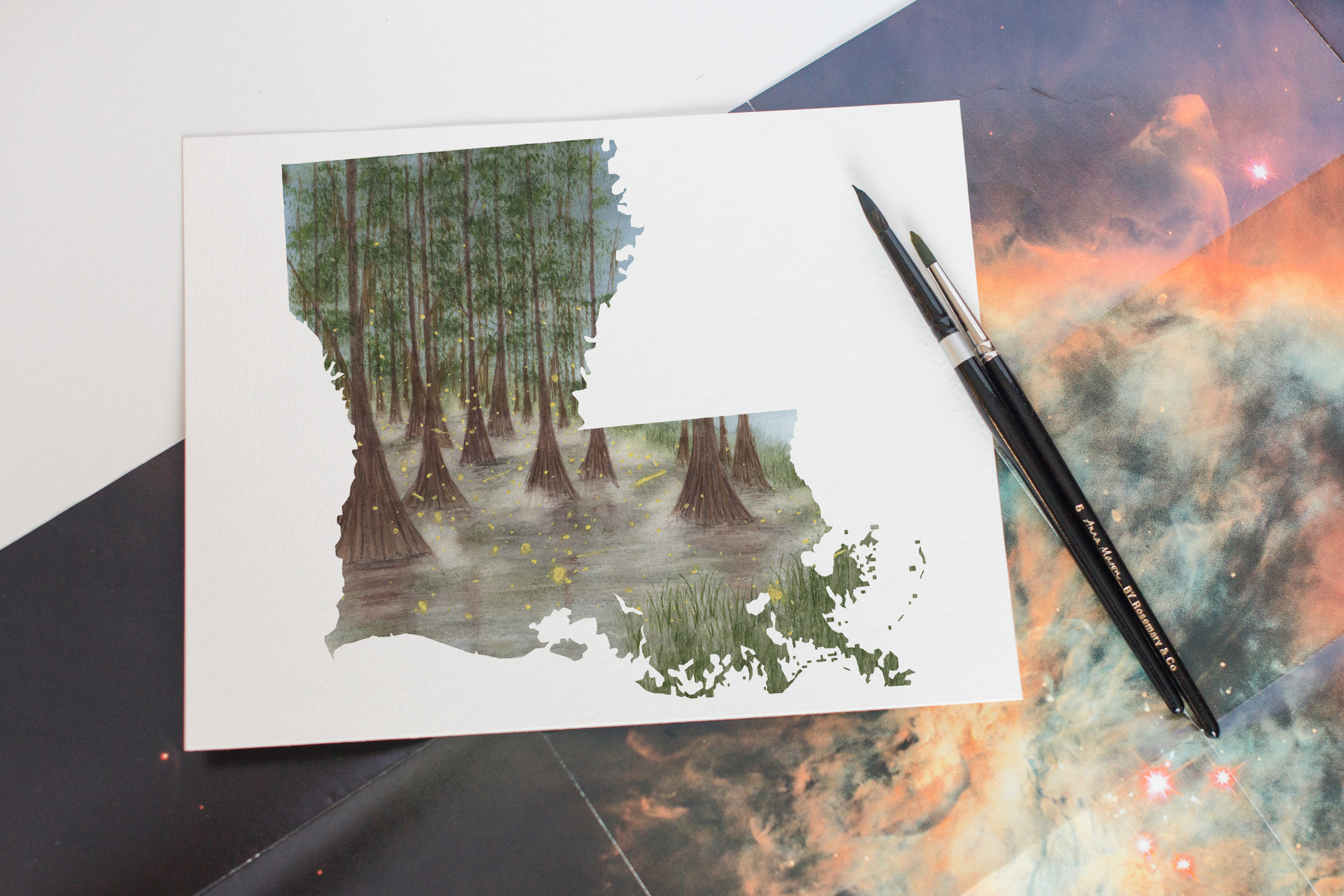 The inspiration from Elizabeth stated with a scene from the princess and the frog. Then looking through lots from Louisiana Bayou photos to build this scene.