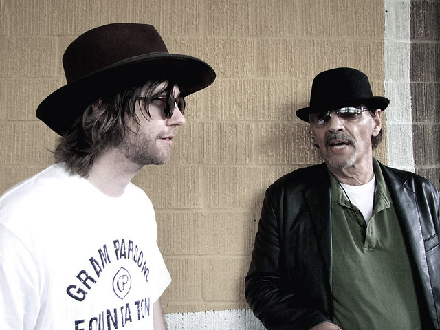 Me and Scott Asheton of the Stooges in Austin, TX. Photo by BP Fallon.