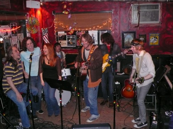 Emory Joseph, Nate Schweber, Todd Snider, Keith Christopher and me at Banjo Jims in 2008.