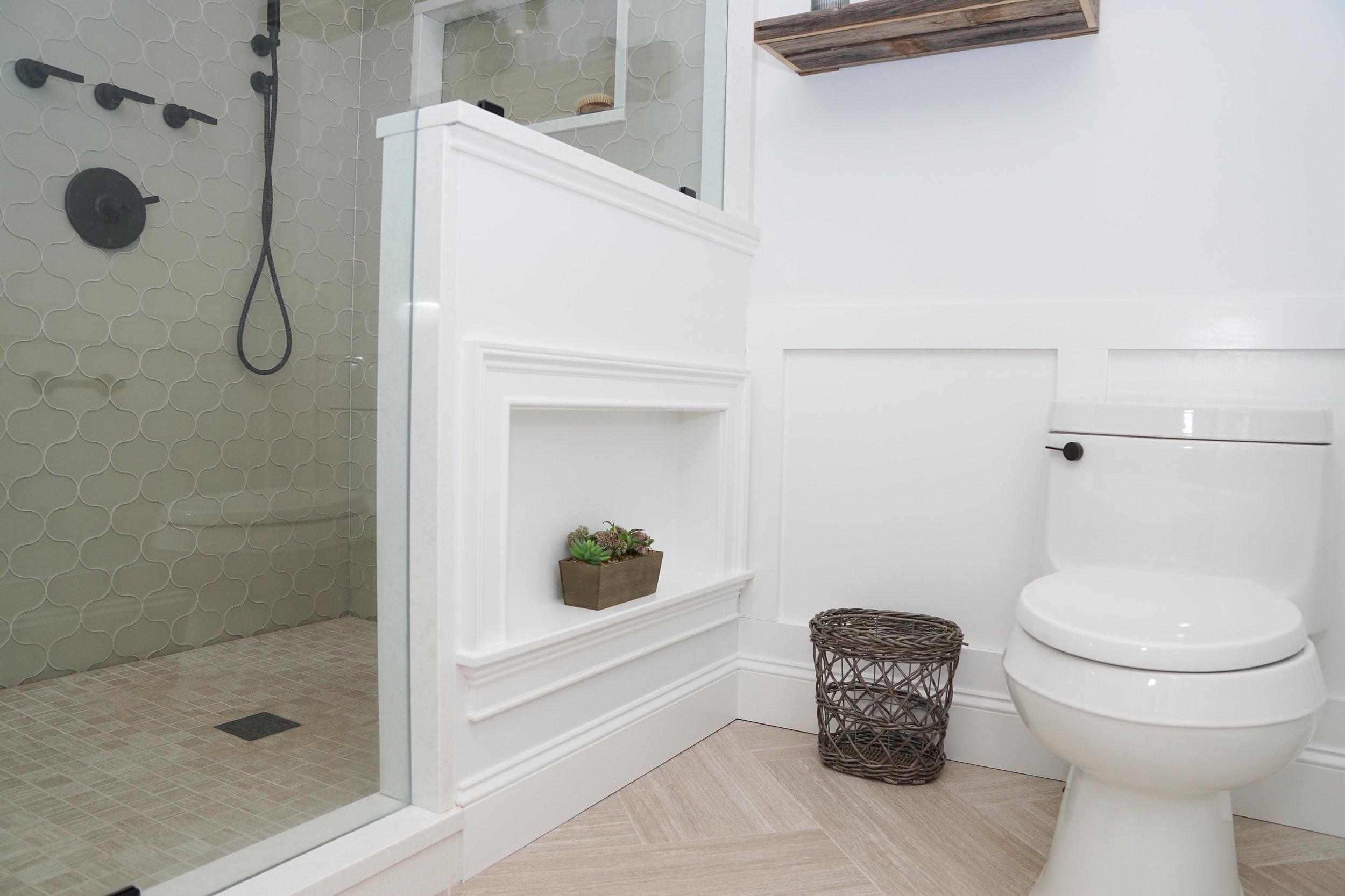 Built-in shelf in master bath