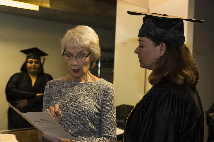 Taylor preparing for her graduation speech.