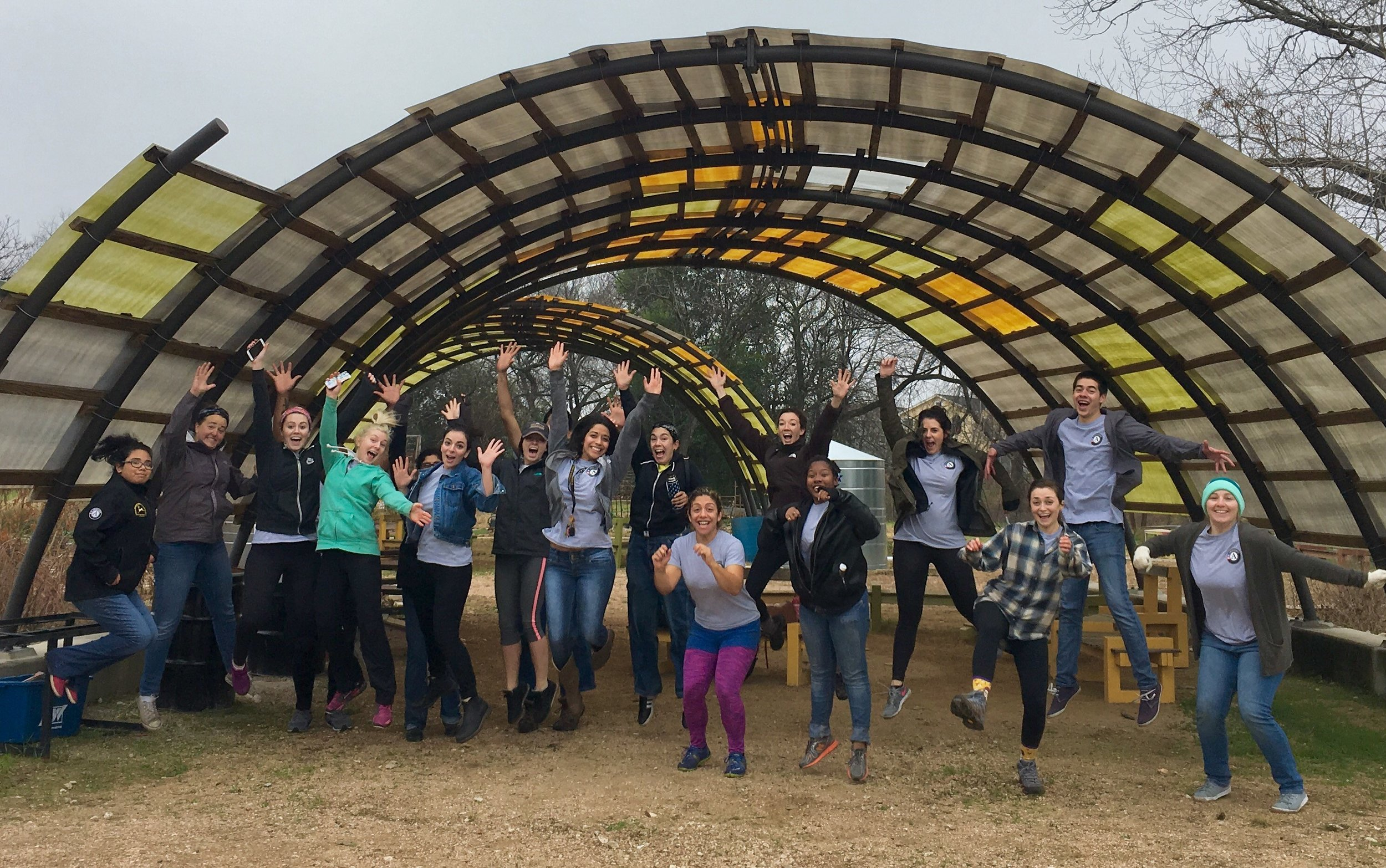 Texas Family Literacy AmeriCorps members at the 2017 MLK Day of Service with the Sustainable Food Center