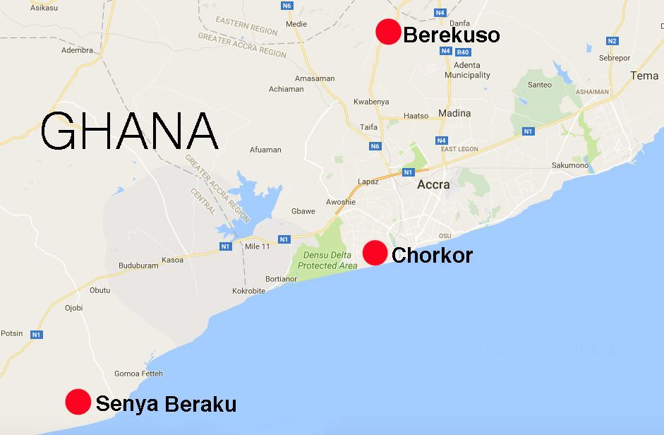 The communities we will be working in: Senya Beraku, Chorkor, and Berekuso.