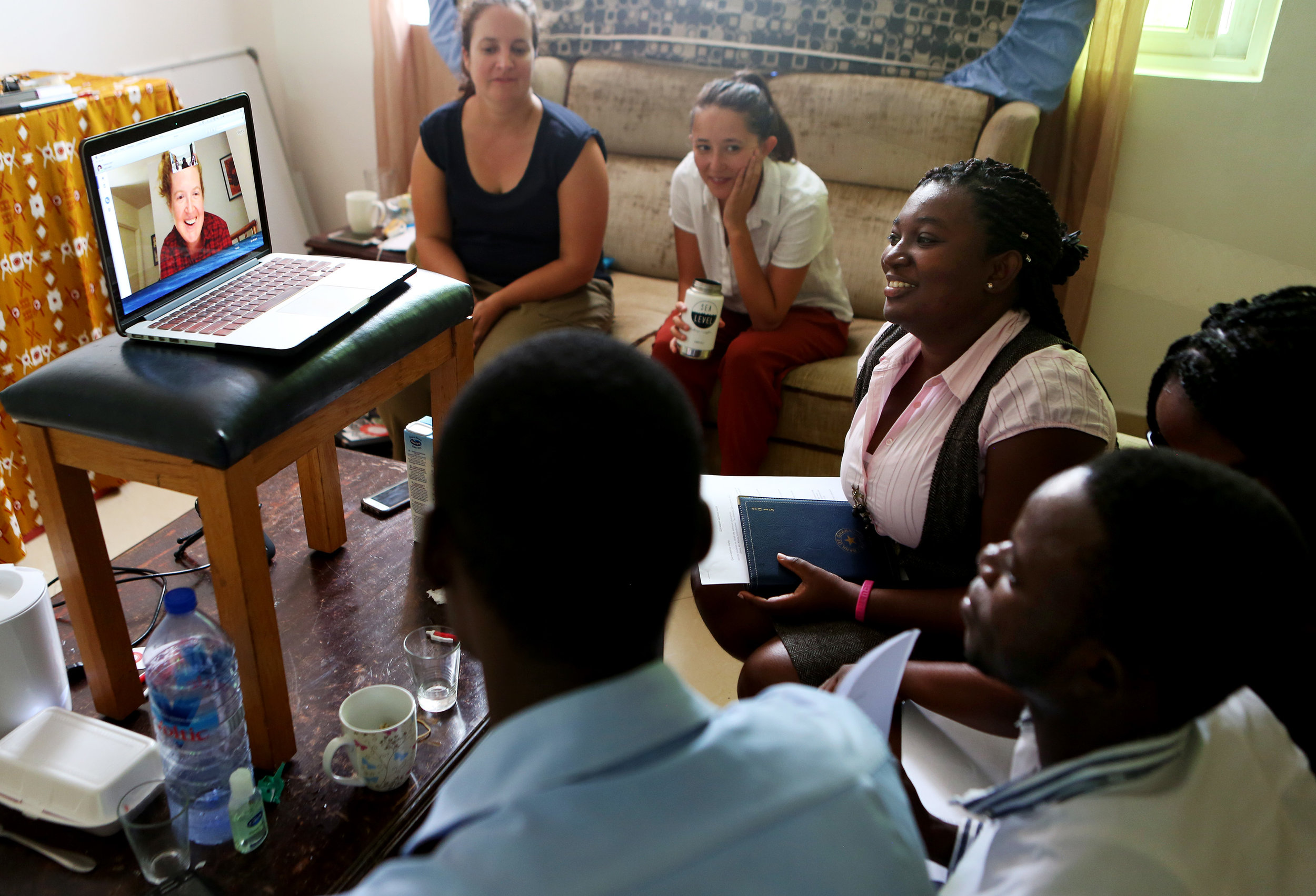 Our team in Ghana skypes with Melissa in Seattle.