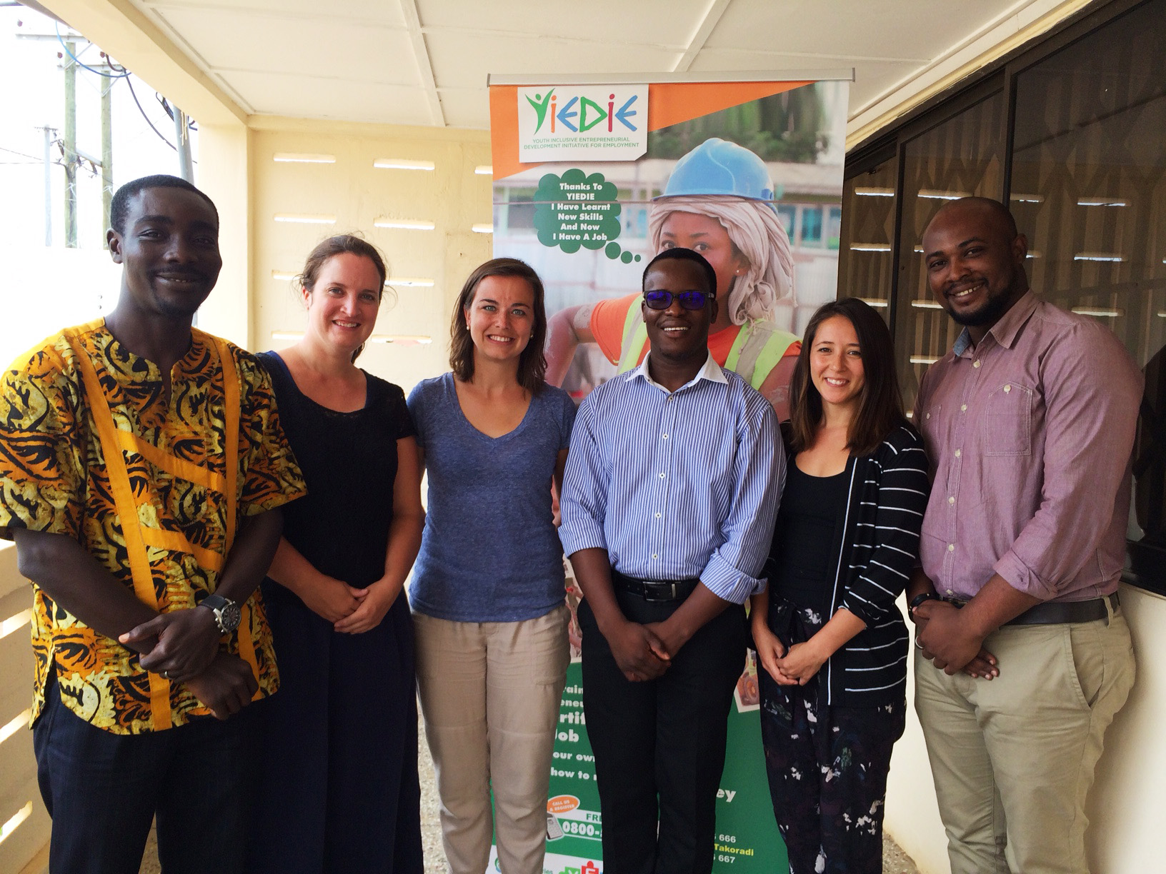 Our meeting with YES-Ghana. Left to Right, James Anquandah, Sophie Danner, Emily Rasinski, Emmanuel Edudzie, Sheena Lahren, and Emmanuel Nomafo.