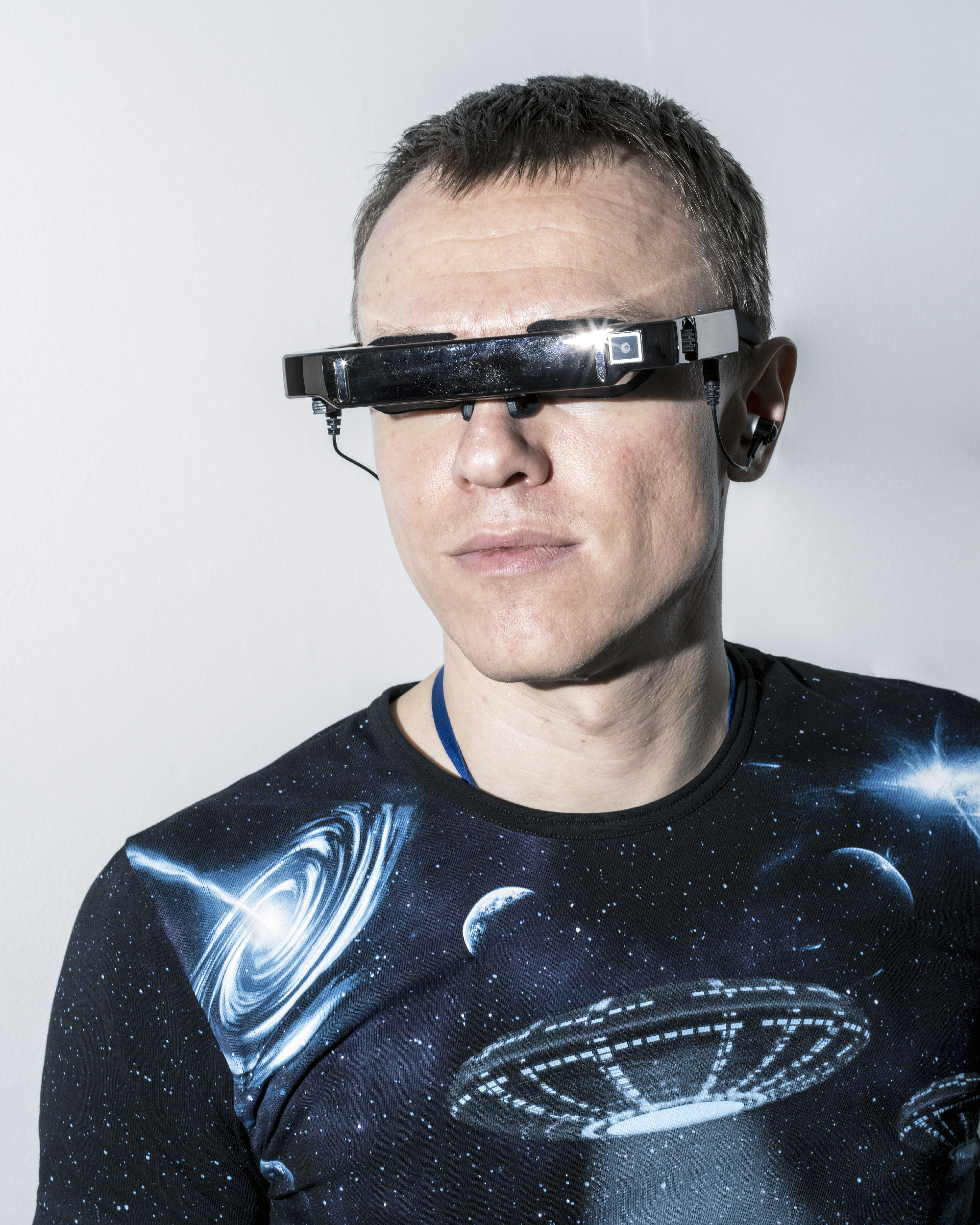 Businessman Igor Trapeznikov, a member of Russia's transhumanist movement, wears several handmade experimental implants, including a device that turns sights into sounds, which could prove useful for blind or vision-impaired people. His also has various handmade microchip implants that replace his credit card and house keys, for example.  Moscow, June 21, 2017