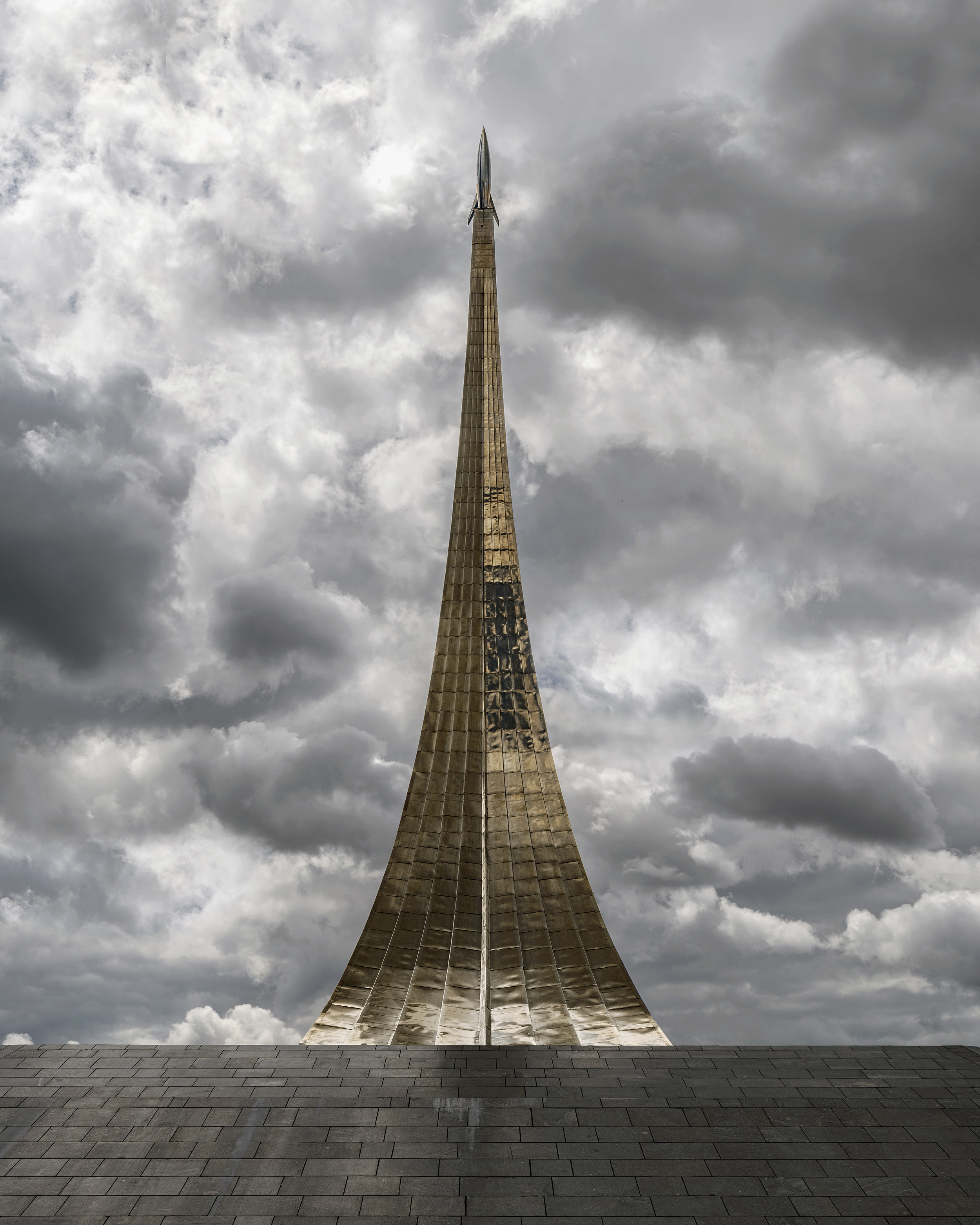 Built in Moscow in 1964, the Monument to the Conquerors of Space is an emblem of Soviet ideology and Russian space travel. At the dawn of the twentieth century, this movement's followers thought technology could help man achieve immortality or awaken the dead. They considered the conquest of space as the road to the transcendence and salvation of humanity. The association between transhumanism and the conquest of space occurs frequently: Only an enhanced man would be capable of facing the harsh conditions allowing an extraterrestrial colony to be established.