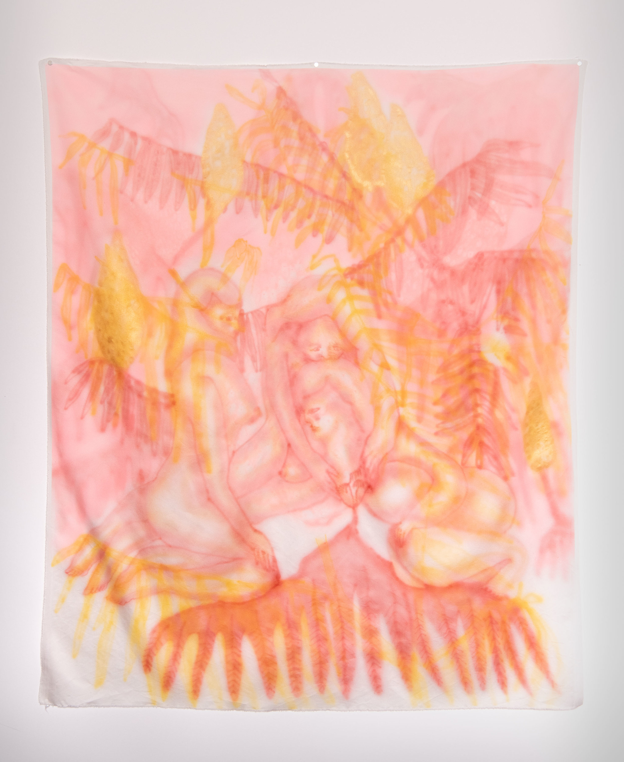 "Sumac Lemonade , Airbrushed Silk, 45"" x 53"", 2018"