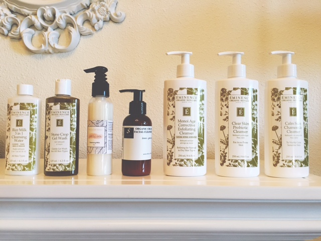 Left to Right. Eminence Rice Milk 3 in 1 Cleanser, Eminence Stone Crop Gel wash, Poetic Skin Cleansing Milk, Servello Organic Cream Facial Cleanser, Eminence Monoi Age Corrective Exfoliation Cleanser, Eminence Clear Skin Probiotic Cleanser, Calm Skin Chamomile Cleanser