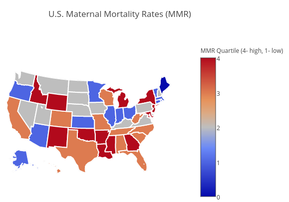 Created with Plotly. High maternal mortality rates are above 14 maternal deaths per 100,000 live births, low rates are less than 7 maternal deaths per 100,000 live births.  Data for MMR  were collected between 2001 and 2006.