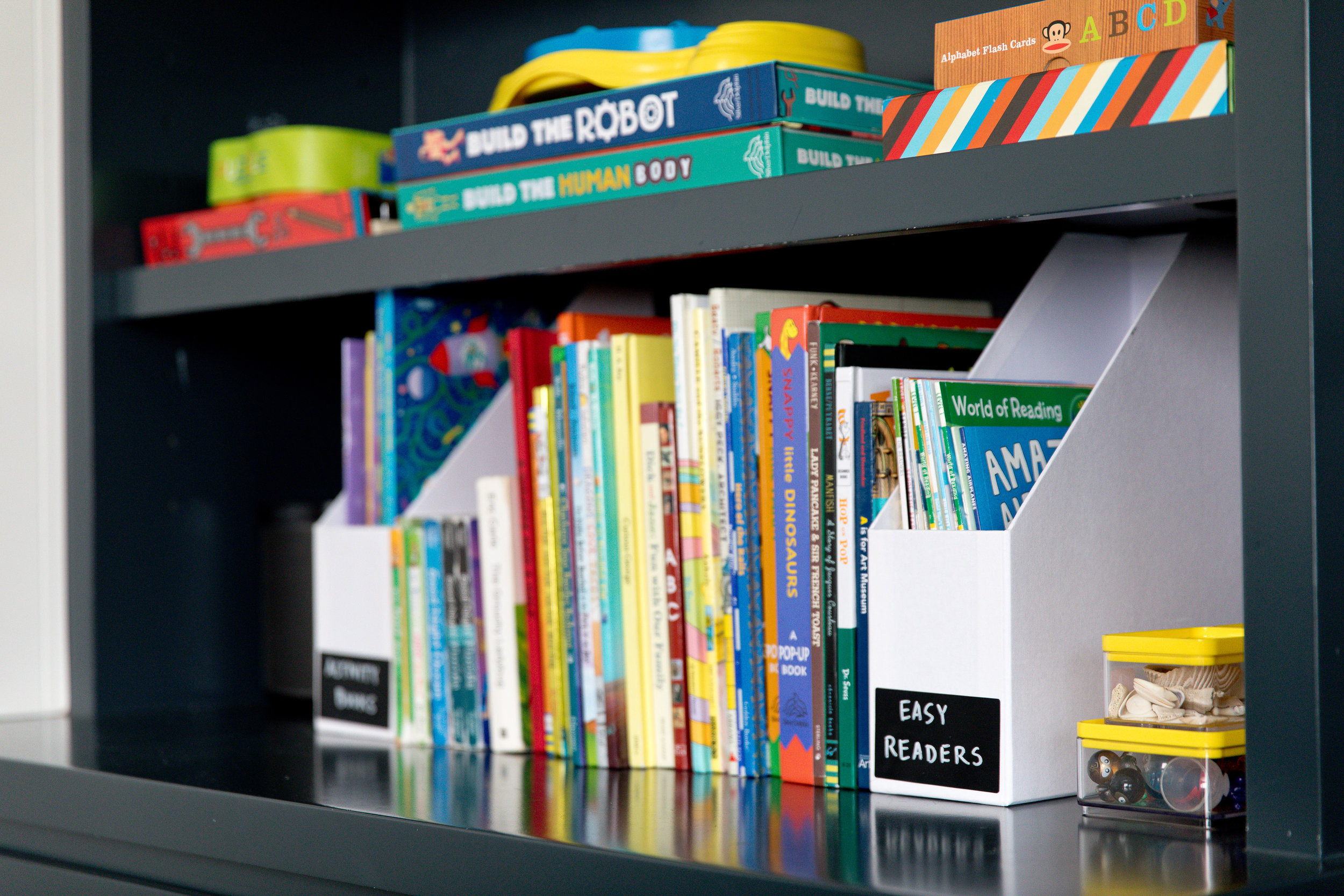 KIDS  - use for arts + crafts supplies and books