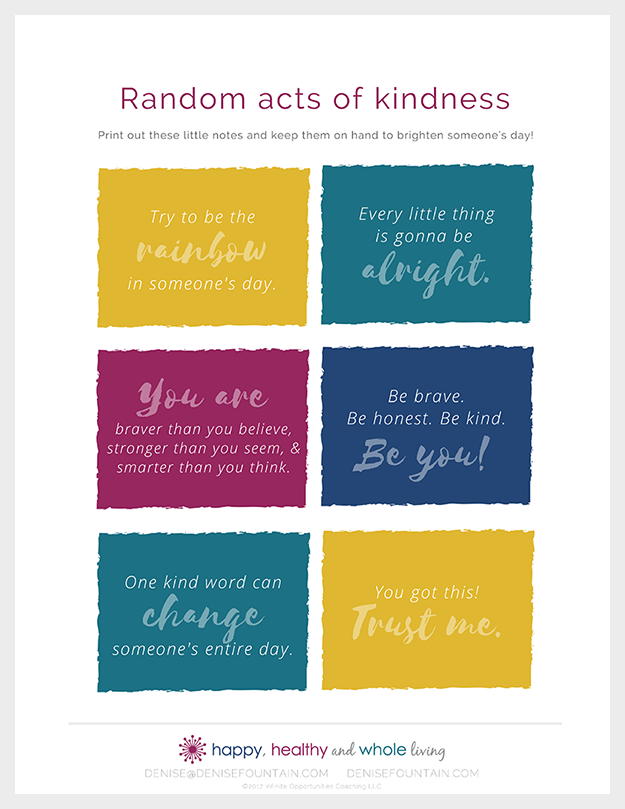 "Download this ""Random acts of kindness"" printable and spread some cheer!"