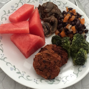 Sweet Potato Blackbean Burgers with Sides