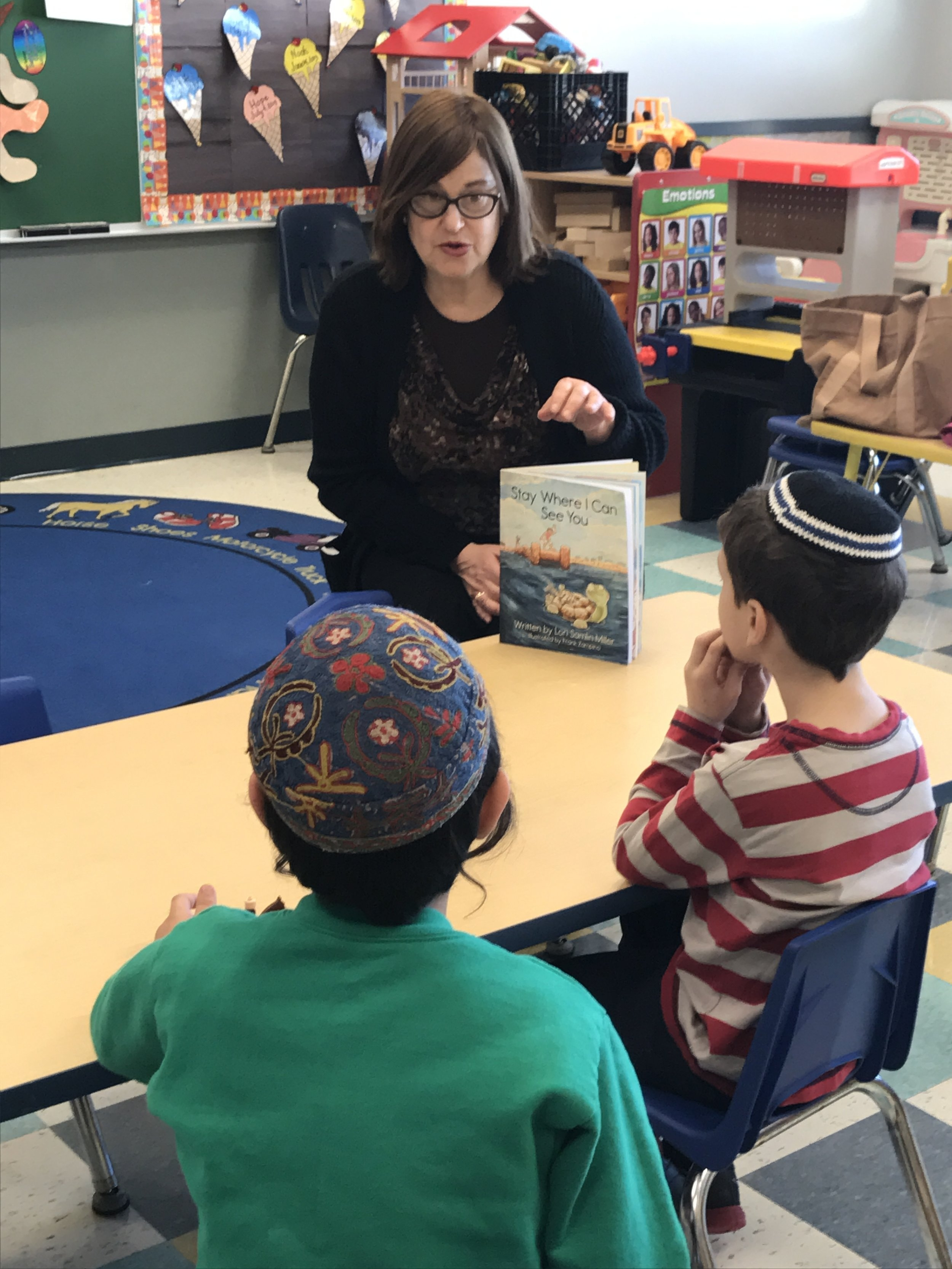 Katz JCC Cherry Hill     On April 2, 2017 I was invited to read  Stay Where I Can See You  during two sessions at the ABC Jr program. The students wrote stories and did crafts.