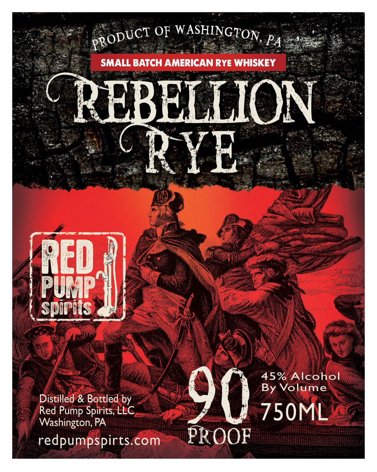 REBELLION RYE WHISKEY - We named this whiskey after those rebellious souls who began the rye whiskey tradition here in Southwest Pennsylvania. It is a tradition that began with the Whiskey Rebellion of the late 18th Century and continued through Prohibition. We have revived that spirit with this classic Monongahela Style Rye. It's spicy and bold like the people who made it and the souls who drank it. It's an all rye grain barrel aged whiskey, and it's available for you to sip or use as a base to create one of the classic rye cocktails - an Old Fashioned, Manhattan or Sazerac.We bottle it at 90 Proof /45% ABV