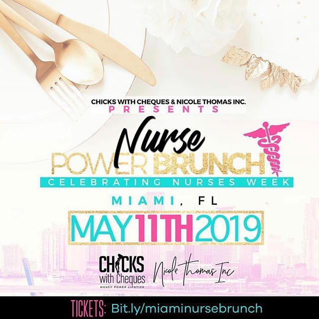 Let's celebrate Nurses Week 2019 in South Beach! Join @thebrandingnurse & @nicolethomasinc for the 2nd Annual #NursePowerBrunch for National Nurses Week. This year every guest will be VIP, receiving a premium outdoor experience on the deck at the Hyatt Centric with a professional networking crowd to enjoy our brunch day party! Did we mention our premium experience includes unlimited Mimosas and Bellinis? Perfect for the South Beach vibes. Plus we are also giving everyone our reusable gold tote bag, Nurse Power journal, T-shirt, and giveaways! Come to participate in our interactive Q&A session to get the answers, meet the people, and learn how to apply your Nurse Power to reach new levels! While enjoying the nurse networking atmosphere, Q&A discussion and brunch, guest will also be able to enjoy music, outdoor setting, and photo opps. Link in bio or click here: bit.ly/miaminursebrunch