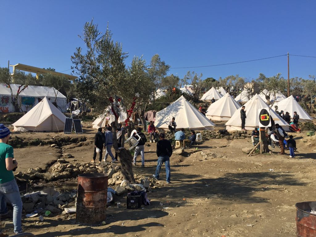 Makeshift camp outside Moria on the Greek island of Lesvos for non registered refugees, this camp no longer exists. February 2016.