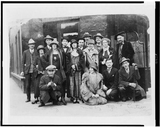 The Dada group, taken in 1921 and featuring (not in order) Man Ray, Mina Loy, Tristan Tzara, Jean Cocteau, Ezra Pound, Jane Heap, Kiki Ray, and Martha Dennison.
