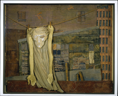 """Christ on a Clothesline,"" by Mina Loy, collage & mixed media in deep covered glass box, 1955"