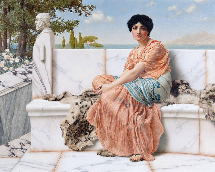 Sappho of Lesbos. Painting by John William Godward.