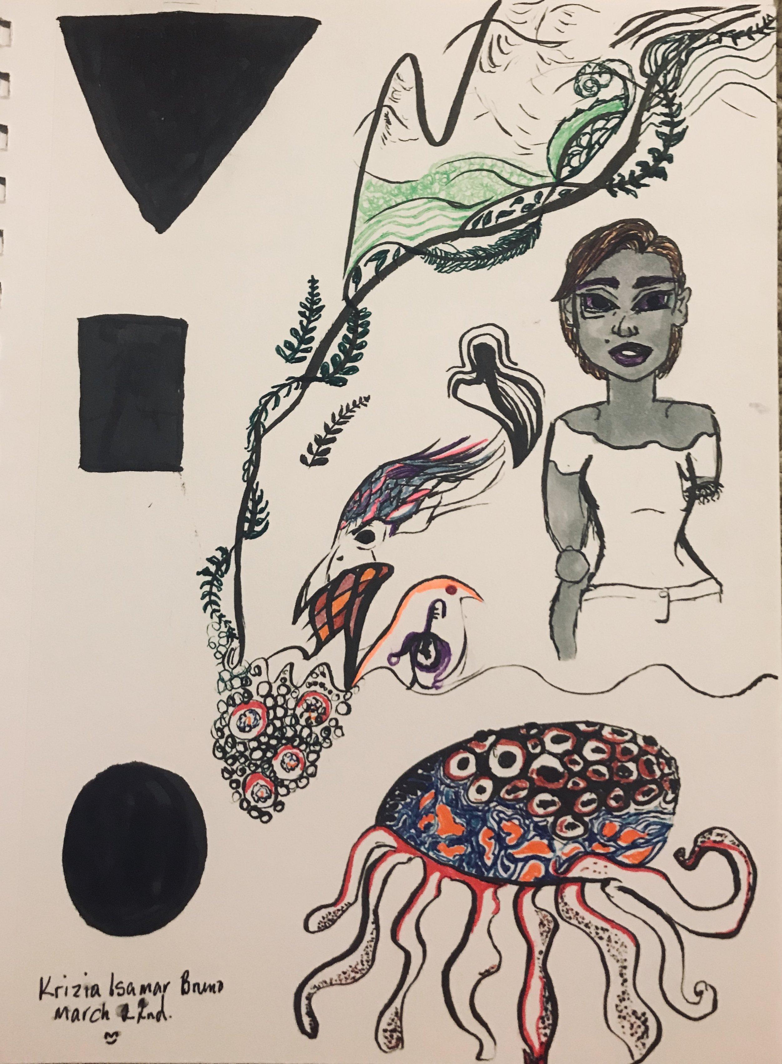 titled,  Ego Dump . ink on bristol paper.