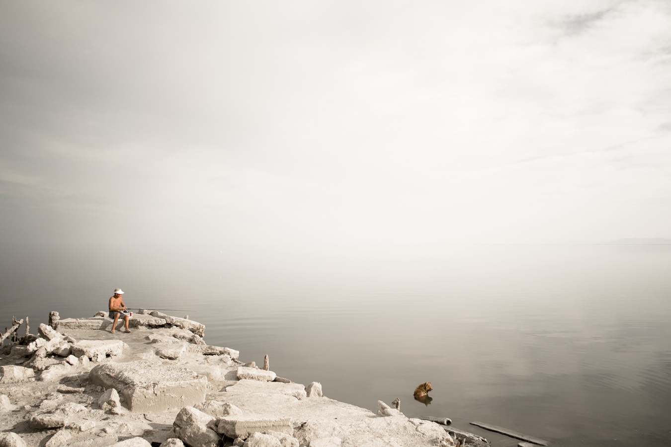 fisherman at the Salton Sea by Jonas Jungblut