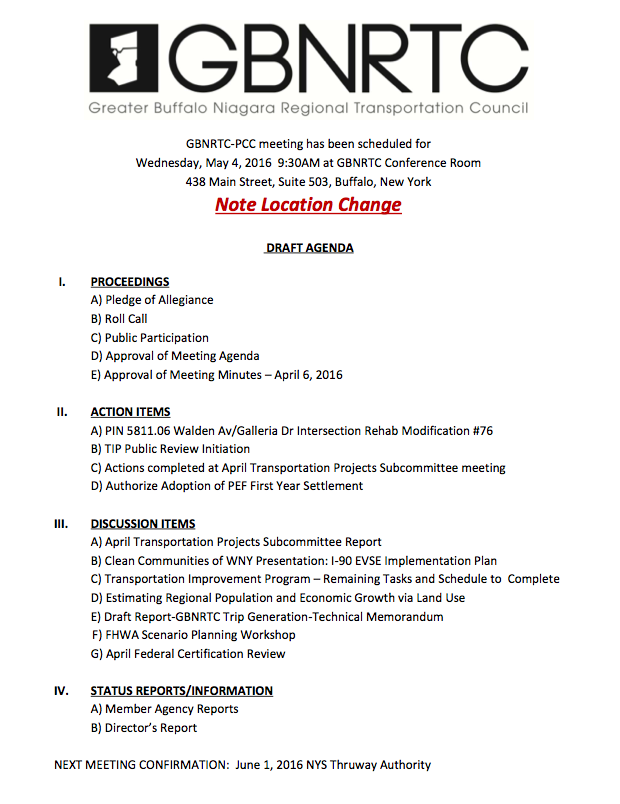 May 2016 PCC Agenda