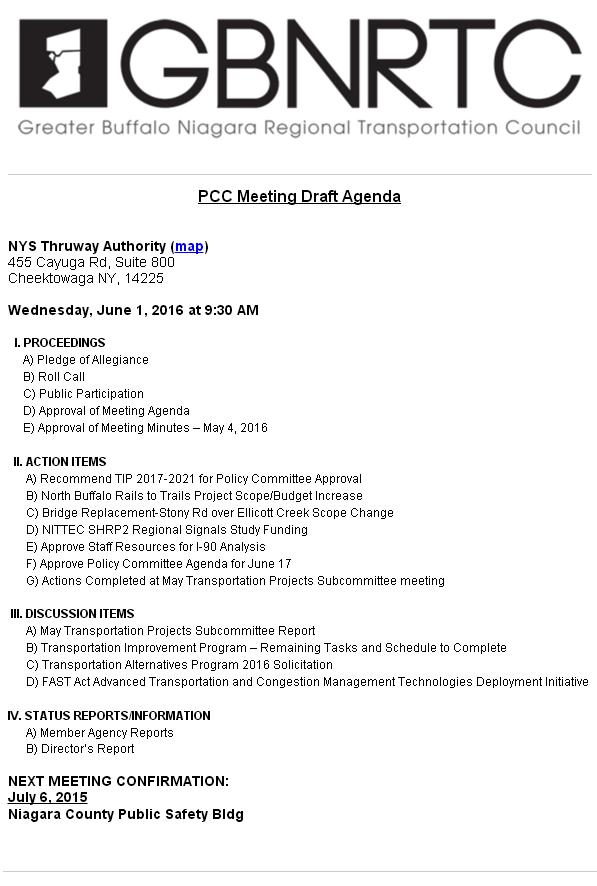 June 2016 PCC Agenda