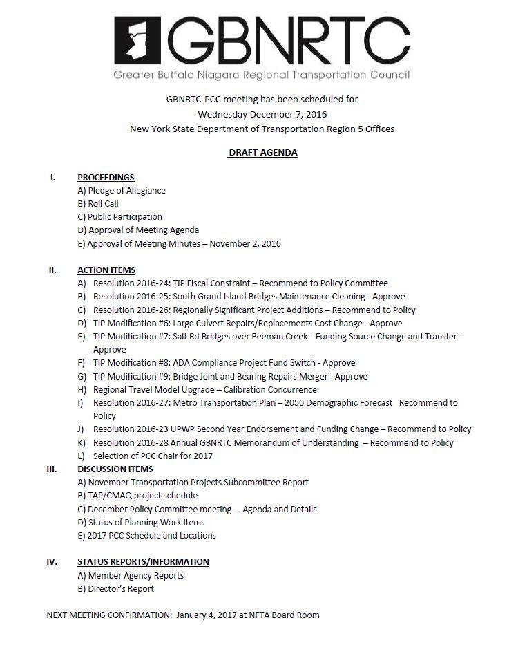 PCC Meeting Agenda - December 2016