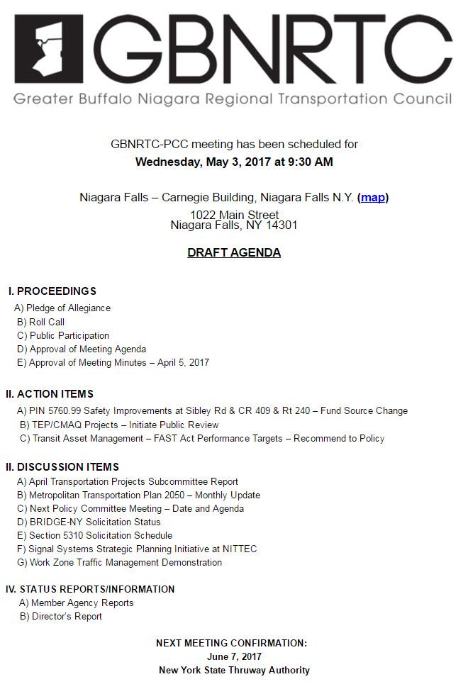 GBNRTC PCC Draft Meeting Agenda - May 3, 2017