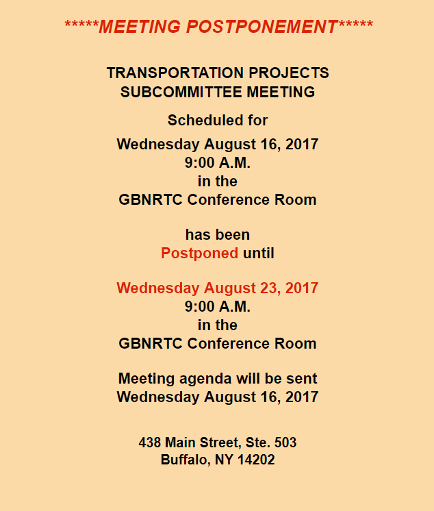 Transportation Projects Subcommittee Meeting August 23rd 2017