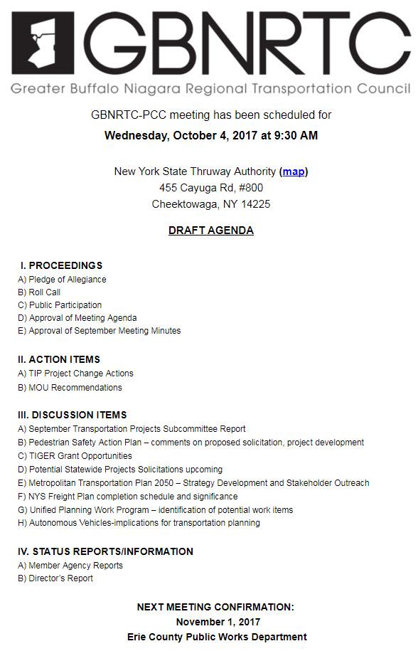 GBNRTC PCC Meeting Draft Agenda October 4, 2017
