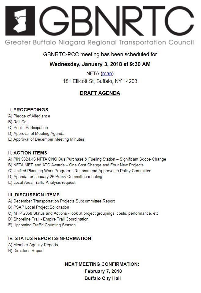 GBNRTC PCC Meeting Agenda January 3rd 2018
