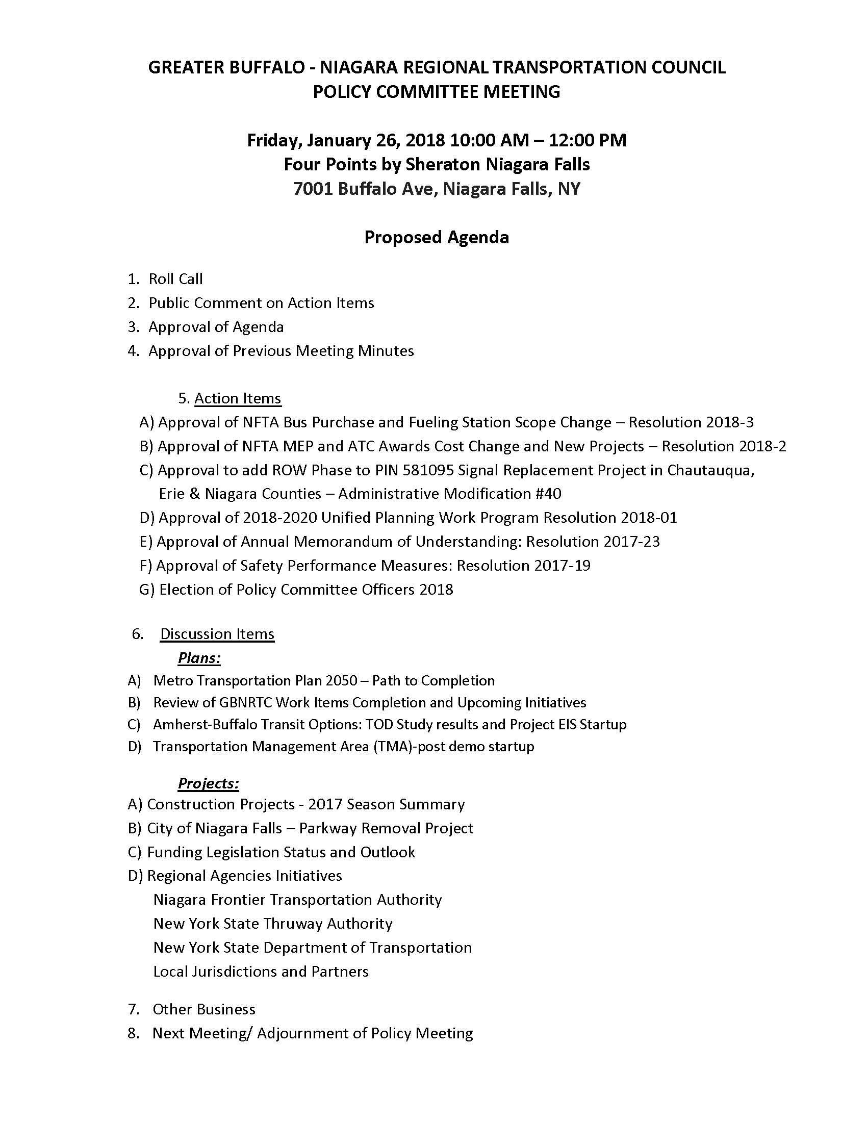 Policy Committee Draft Agenda - January 26, 2018