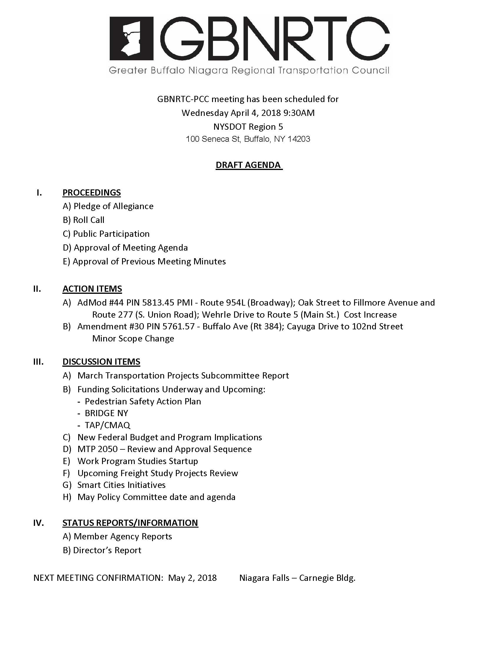 PCC Draft Agenda April 4, 2018