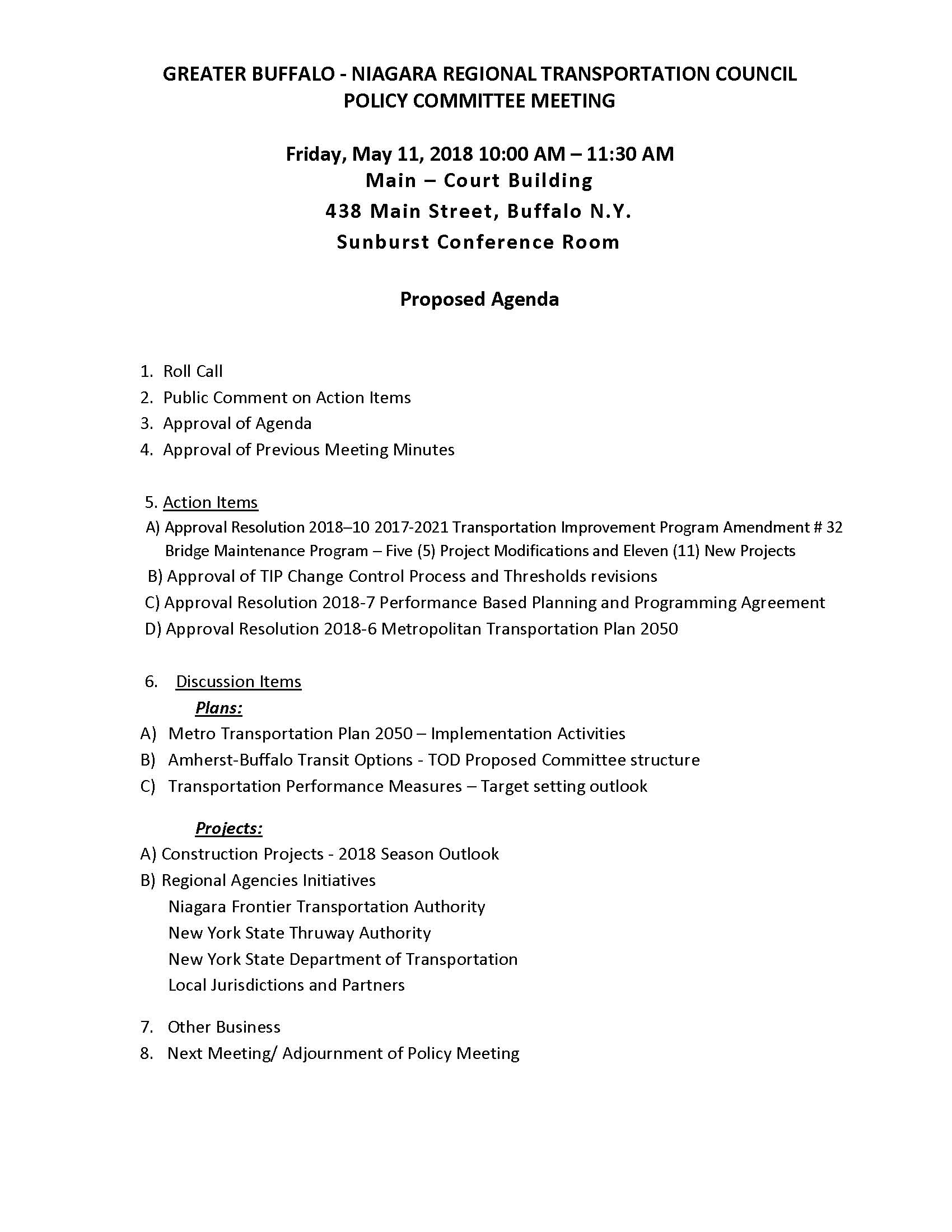 Policy Committee Draft Agenda - May 11, 2018