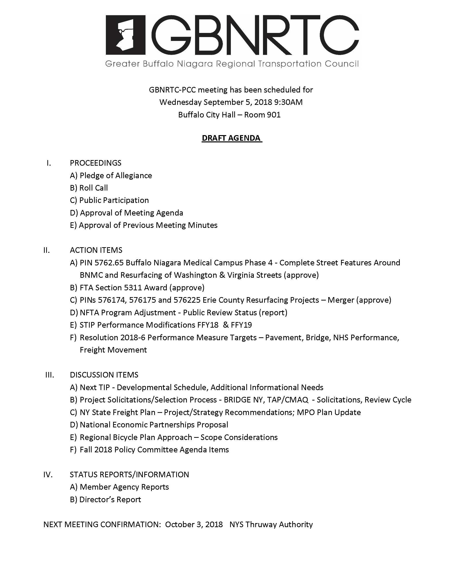 GBNRTC PCC Agenda September 5, 2018