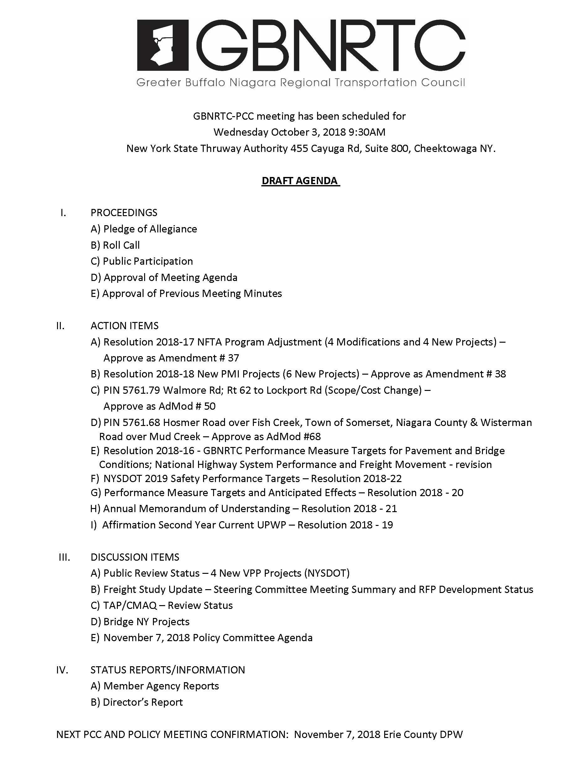 PCC Agenda October 3rd, 2018