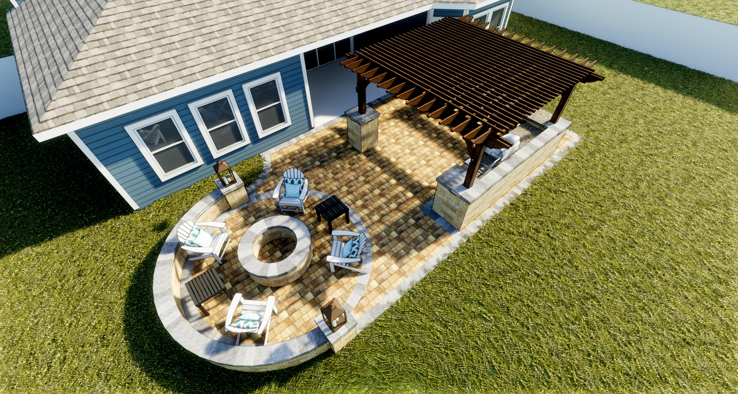 De Leon - Paver Patio | Fire Pit + Seating Wall | Signature Pergola | Stonegate Columns | Outdoor Kitchen