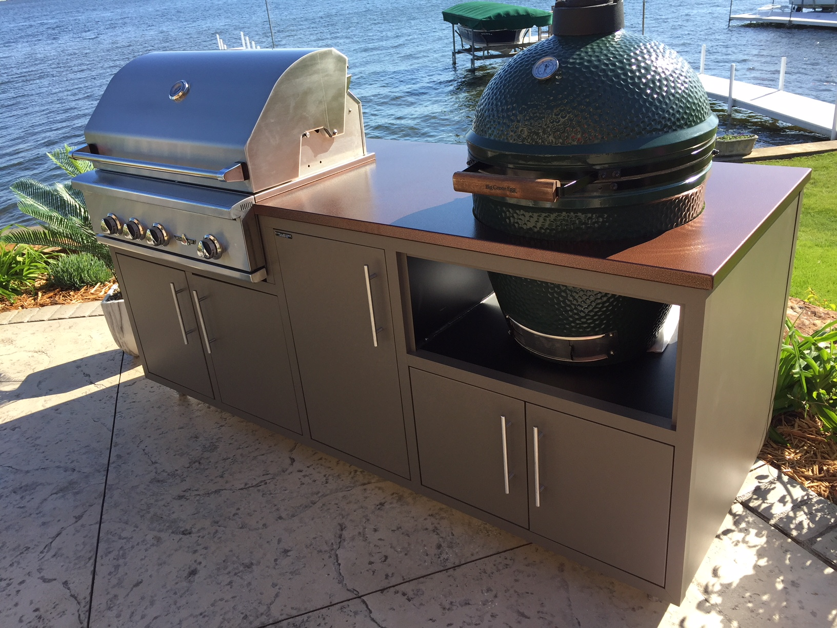 """82"""" Coastal Challenger Kitchen w/ Grill + Big Green Egg  (pictured above)  • Delta Heat 32"""" gas grill + vinyl cover  • Large Big Green Egg  • Storage  • BGE Accessories included: vinyl cover, ash tool, grid lifter, ConvEGGtor, pitt mitt, """"The Lifter"""" and 20lb of lump charcoal  • Price: $6,464.65  • Prattsgiving Deal = $5,564.65 (this is $900 off regular price!)"""