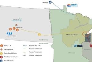 Allete DC Transmission Line Map