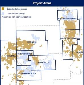 Oasis Petroleum Bakken Acreage Map - Acquisition Included