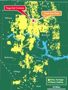 Hess' Bakken Acreage Map