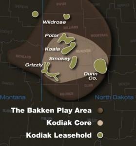 Kodiak Oil and Gas Bakken Shale Map