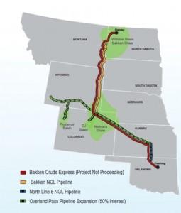 Oneok's Bakken Crude Express Pipeline Map