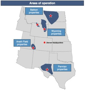 Resolute Energy Operating Areas