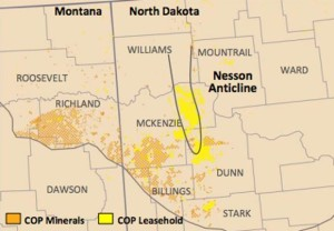 ConocoPhillips Bakken Leashold and Mineral Acreage Map
